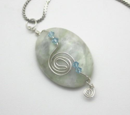 New Jade Wire Wrapped  Pendant