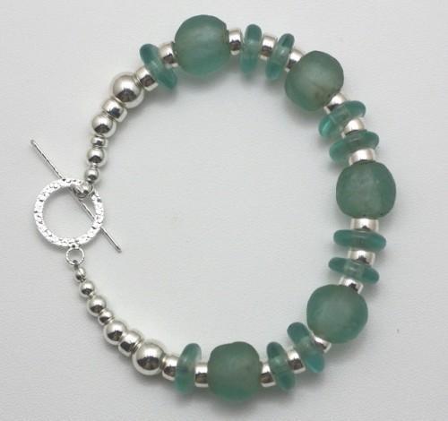Aqua Glass African Krobo and Sterling Silver Beaded Bracelet
