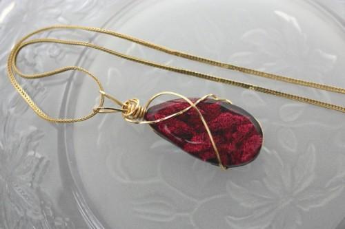 Dark Cherry Dichroic Glass Wire Wrapped Teardrop