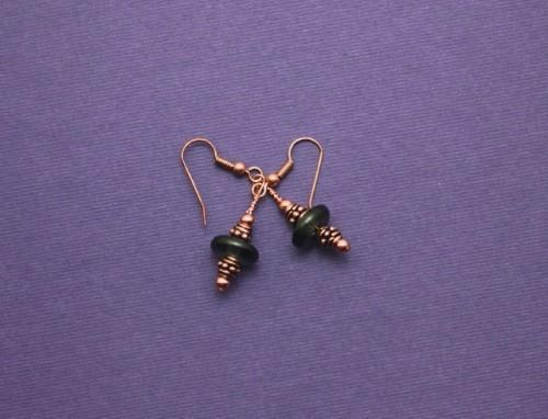 Black Krobo Bead and Copper Earrings