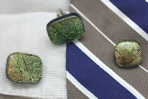 Patterned Gold Green Copper Art Glass Cufflinks