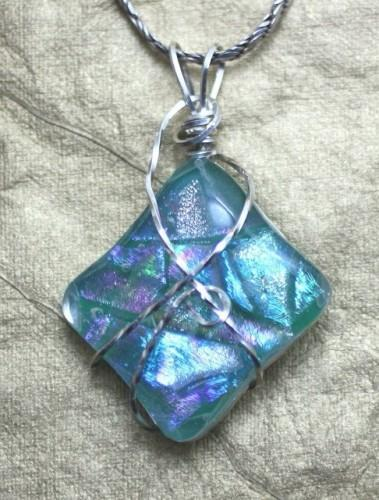 Glimmering Aqua Dichroic Glass Wire Wrapped Pendant