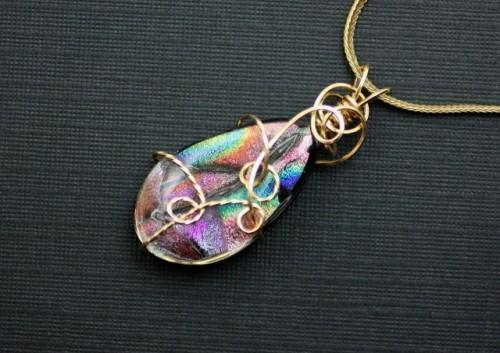 Colors of the Rainbow Wire Wrapped Art Glass Teardrop