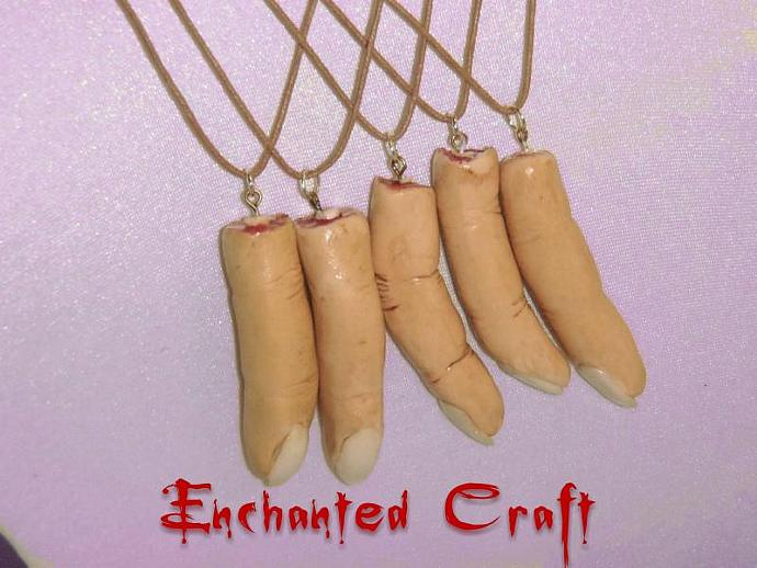 OOAK Sculpted severed finger necklace