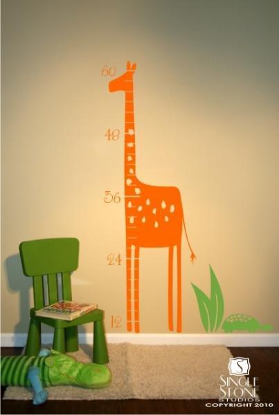 Safari Giraffe Growth Chart - Vinyl Wall Decal