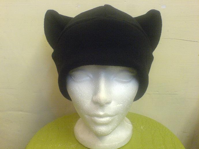 BLACK KITTY cat fleece HAT cosplay ANIME goth ski