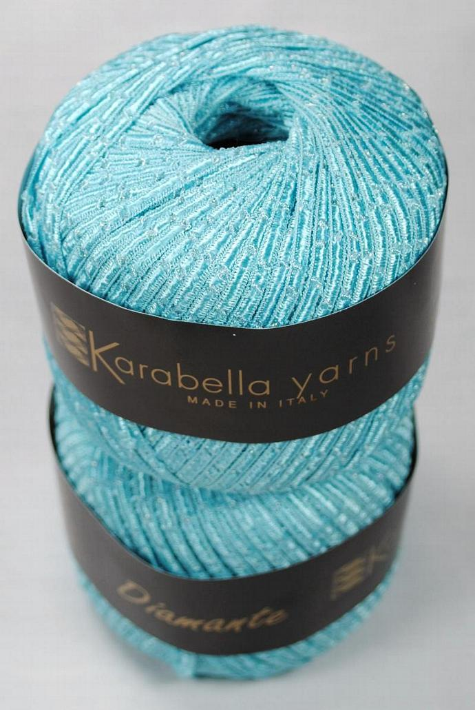 2 skeins Karabella Diamante Ribbon Yarn - Blue
