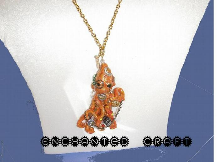 steampunk Orange Octopus pendant with gold chain, beads
