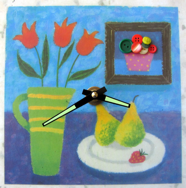 Tulips and Fruit Whimsy Clock