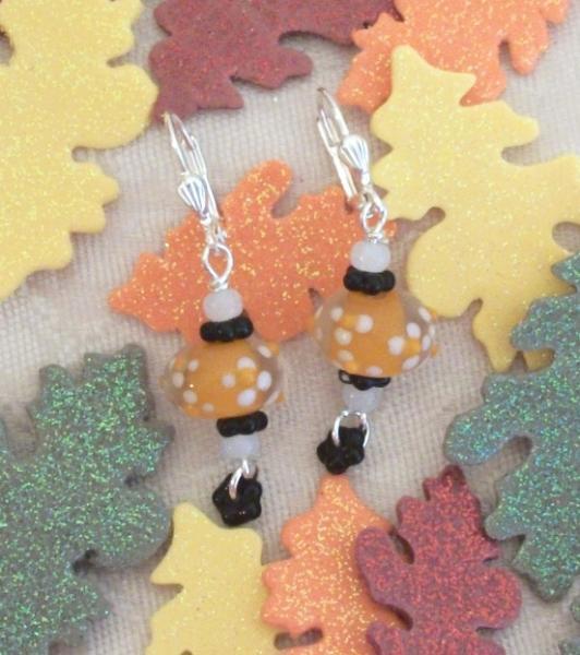 Handmade Lampwork Orange Silver Dangle Earrings