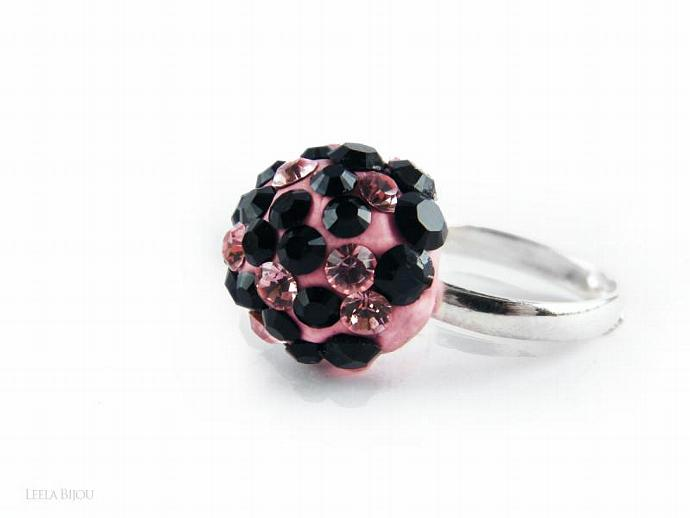 Pink Black Ring Swarovski Crystal Silver Plated