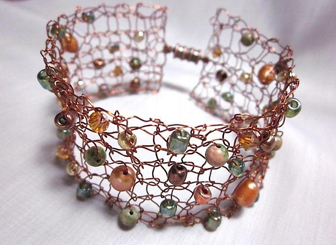 Handcrafted Dark Copper Knit Wire Bracelet for sale