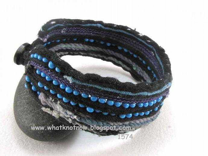tribal style ankle cuff blue and black beaded anklet freeform design casual