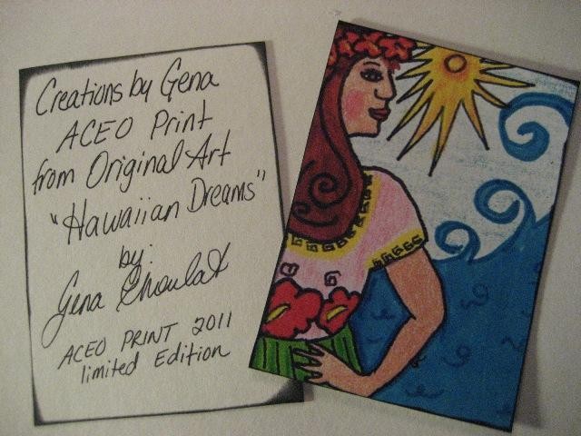 PIF Aceo Print Hawaiian dreams from original mixed media art
