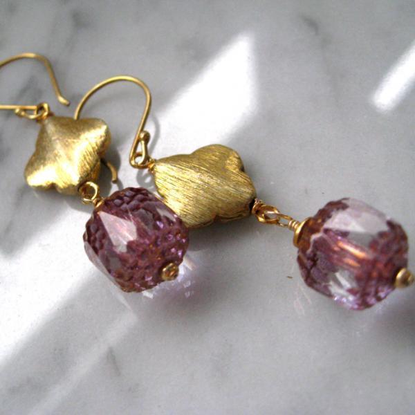 Quattre Foil Pink Czech Glass Earrings Summer Sale