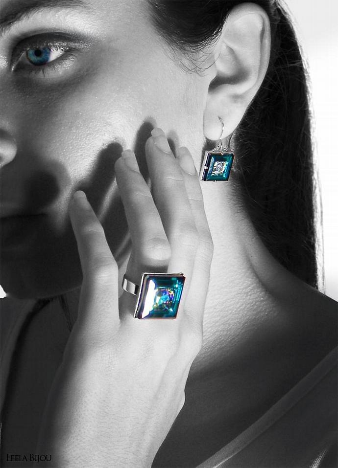 Blue Green Earrings Swarovski Crystal Sterling Silver Square Vitrail