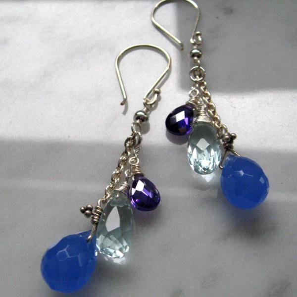 Purple & Blue Drops Silver Dangle Earrings