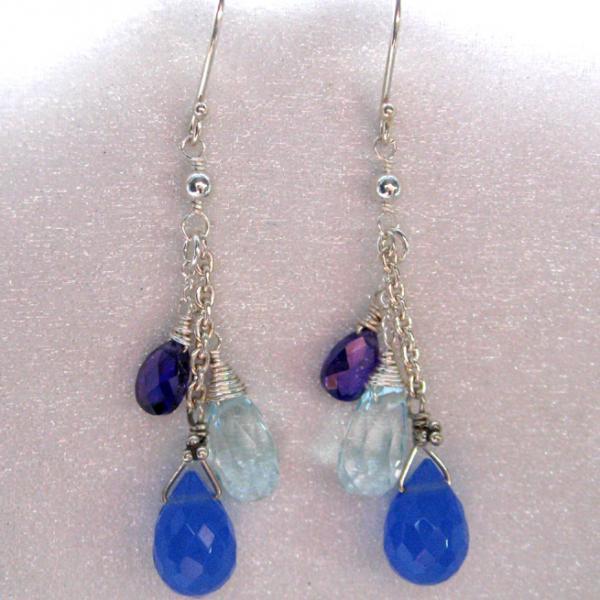Purple & Blue Drops Silver Dangle Earrings