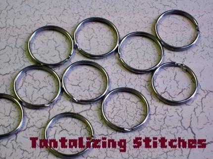 15 one inch nickel plated split rings / key rings