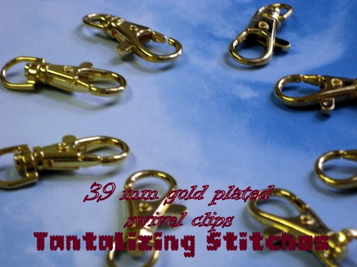 5 Gold Colored Lobster Swivel Clasps - 1.5 INCH