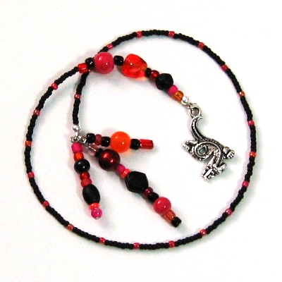 Bookmark Beaded Black Red Orange Pink Dragon