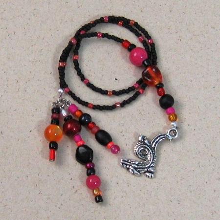 Bookmark Beaded Black Red Orange Pink Dragon
