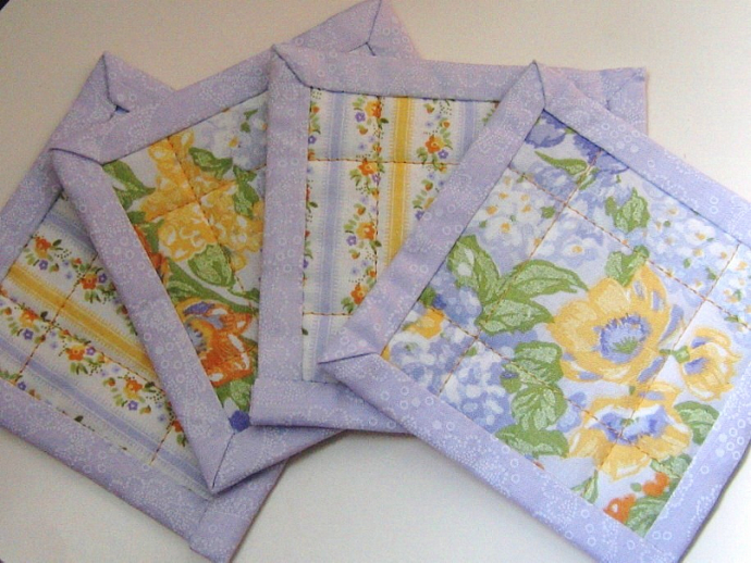 Quilted Drink Coasters Floral Purple Lilac Orange