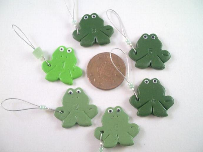 Speckled Frogs Stitch Markers - Set of 6