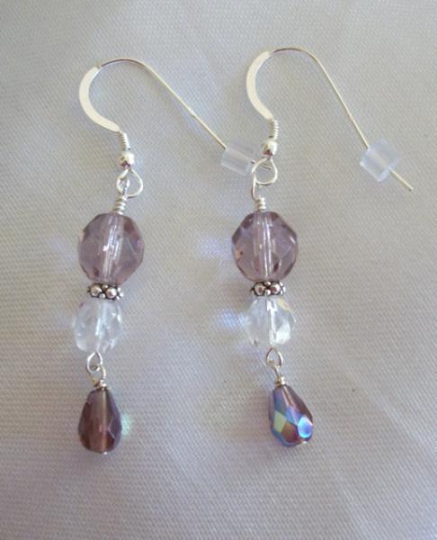 Sterling Silver Handmade Earrings with Violet Czech Firepolish Dangles