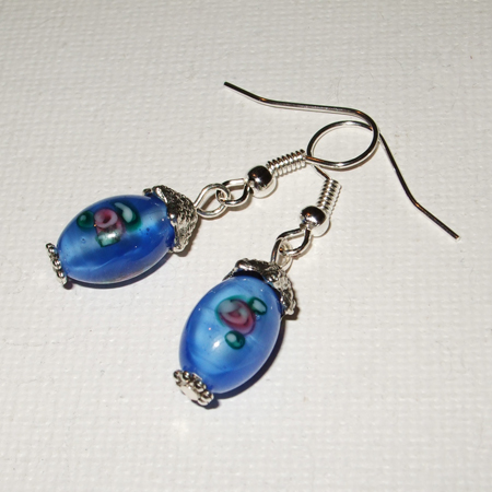 Blue oval flowery earrings