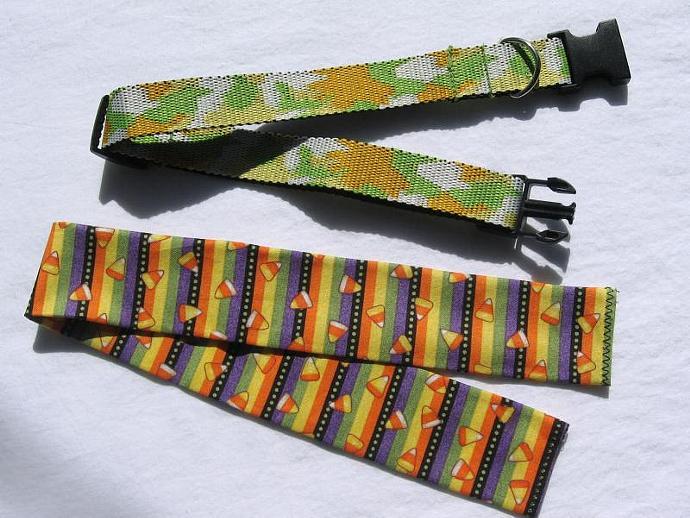 Halloween Candy Corn Dog Collar Cover, a bandana alternative