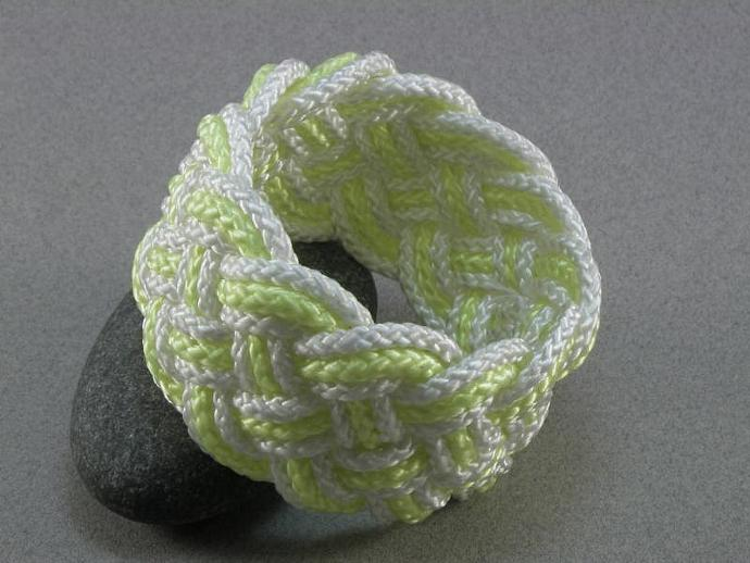 bright white and yellow rope bracelet  turks head knot sailor bracelet synthetic