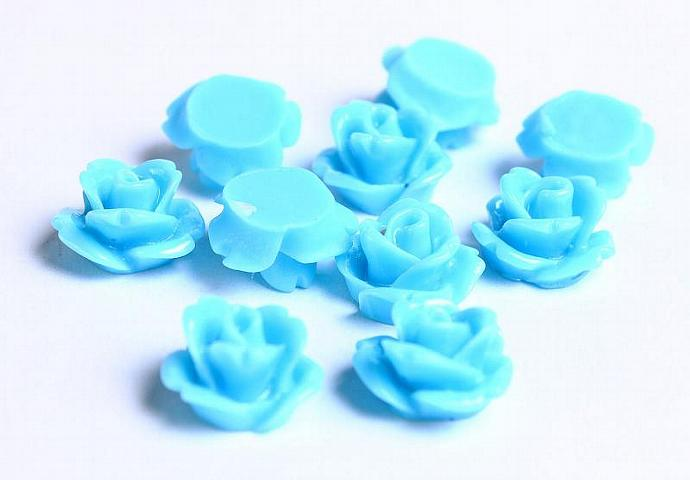Baby blue resin rosebud cabochon 10mm 10pc (078)