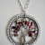 Paisley Glass Tubes Tree of Life Pendant White