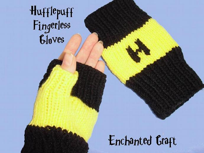 WARM and FUN Hufflepuff Fingerless Gloves for the Harry Potter fan