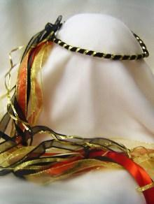 Muse circlet / Black gold red / Renaissance / Wedding