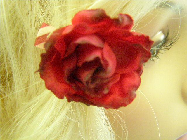 Red and White Ribbon Red Flower Barrette Africa