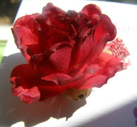 Red White Swirl Ribbon Barrette Alana