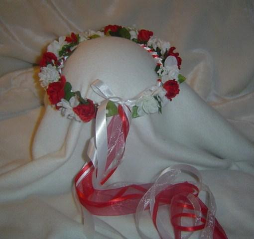 Molly Silk Flower Crown/ Head Wreath Red / White--Wedding / Renaissance