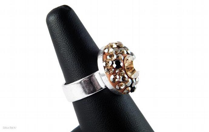 Golden Ring Swarovski Crystal Silver Plated Gray Orange