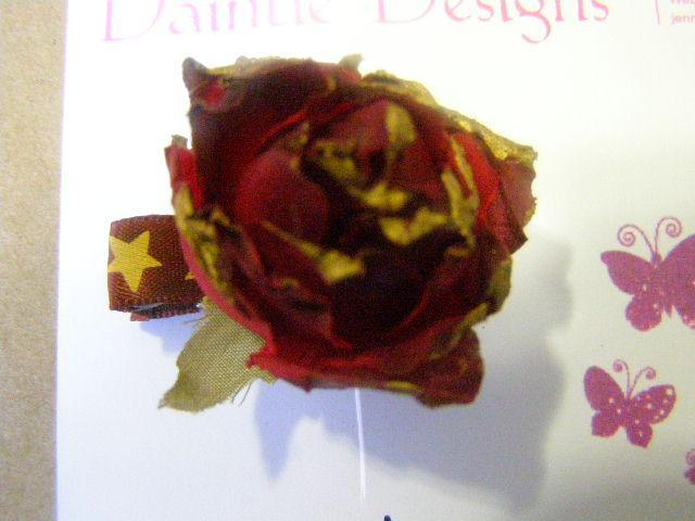 Gold Red Stars Ribbon Barrette Alesta