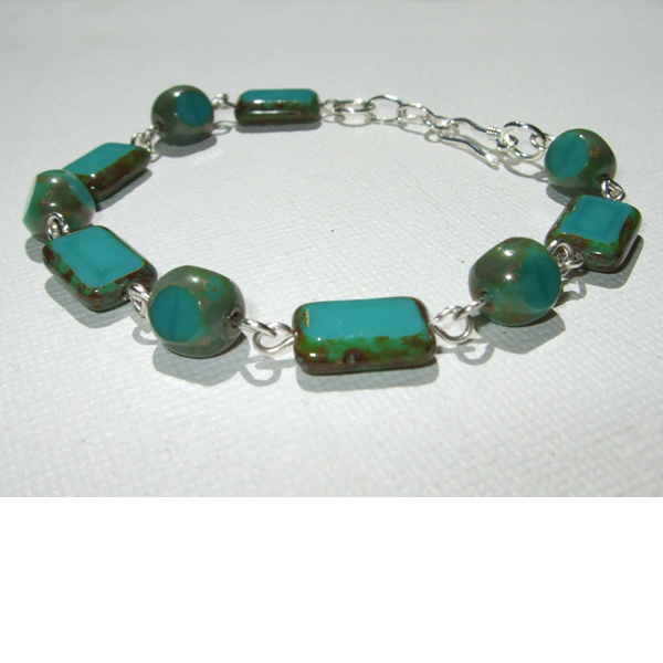 Antique teal bracelet