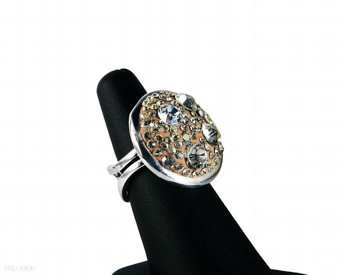 Golden Crystal Clear Ring Swarovski Crystal Silver Plated Orange