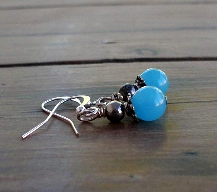 Blue Candy Jade Earrings Blue Sky Round