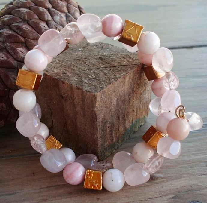 Gentle Pink and Gold Memory Wire Bracelet