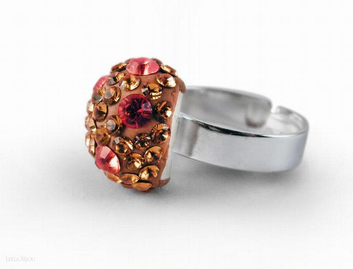 Orange Red Ring Swarovski Crystal Silver Plated