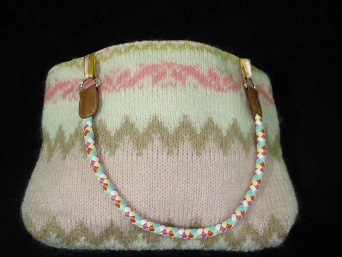 Revalued Sweater Handbag -Pinks with Cream & Tan