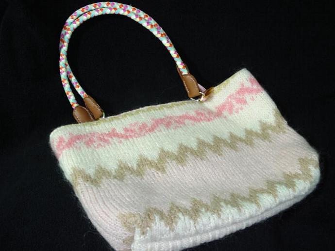 Revalued Sweater Handbag -Pinks with Cream & Tan