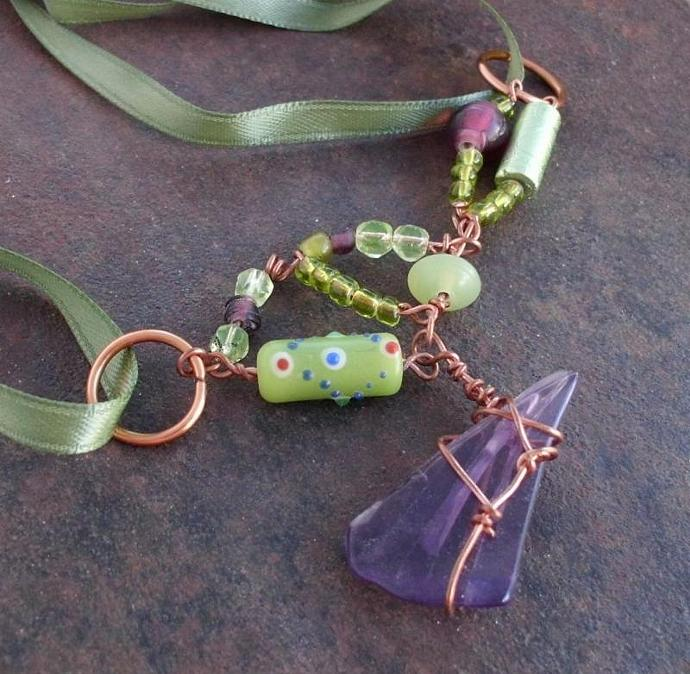 Ribbon Necklace with Lampwork Beads and Sea Glass