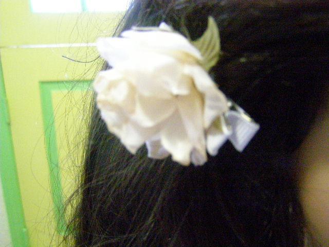 Cream Ivory Off White Ribbon Rose Barrette Cabalina